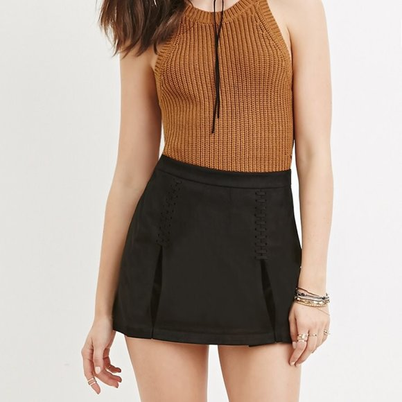 Forever 21 Faux suede Black mini skirt L